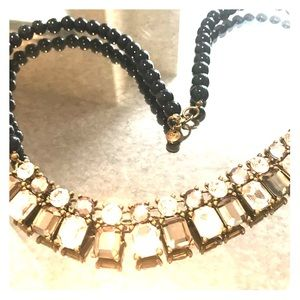 NWOT LOFT Statement Navy Pearl Necklace